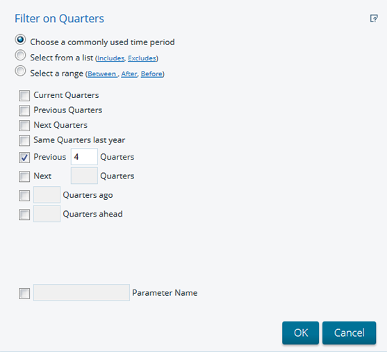 Filter on Quarters dialog box
