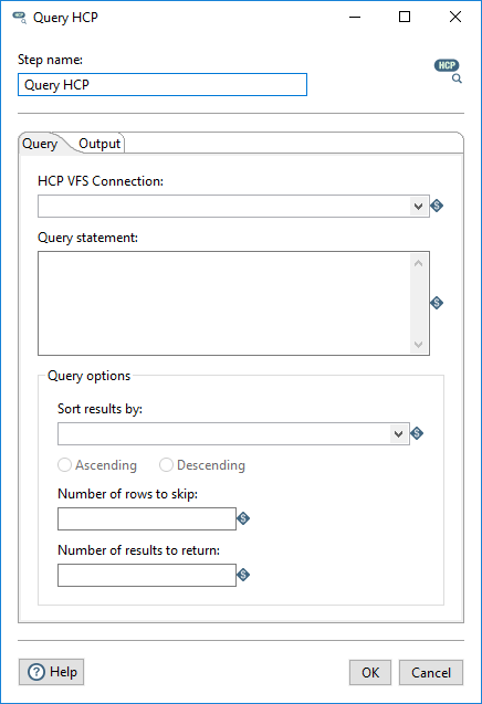 Query tab in the Query HCP step