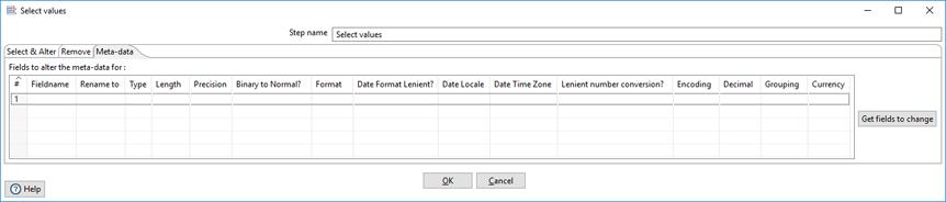 Meta-data tab in Select               values