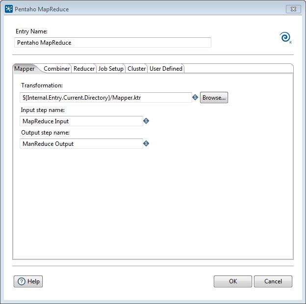 Pentaho MapReduce dialog Mapper tab